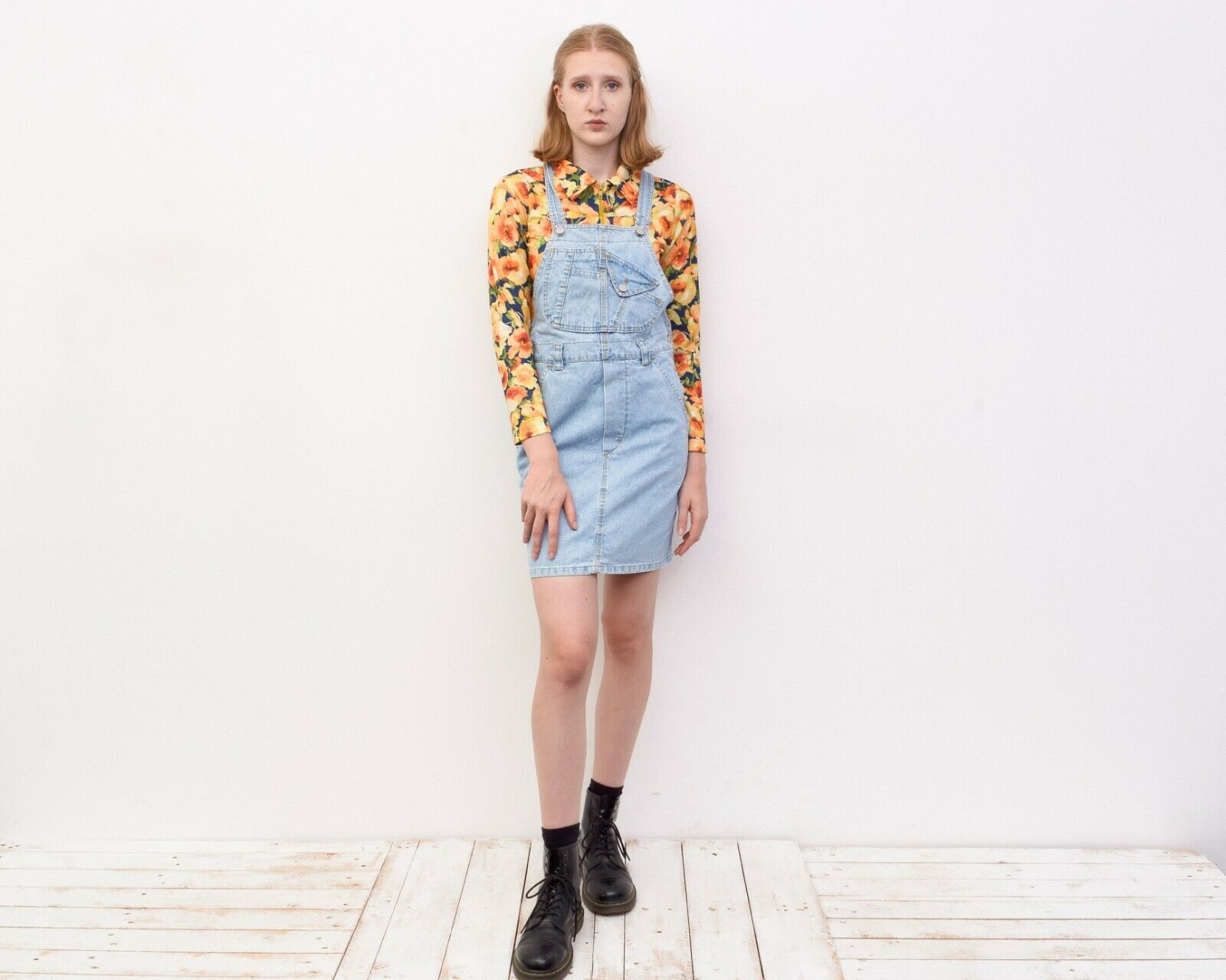 Y2K Women's XS Denim Dungaree Pinafore Dress Butt… - image 4
