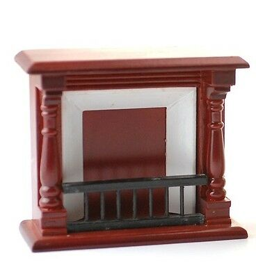 Mahogany Wooden Fireplace Dolls House Fire 1.12 Scale Miniature.
