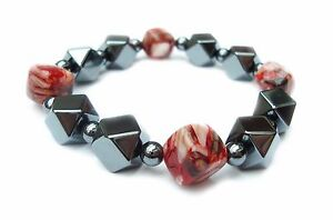 Chunky-Hematite-and-Red-Beaded-Elasticated-Bracelet
