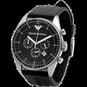 f35b4b8767e NEW IN BOX Emporio Armani AR0527 Mans Watch Black Dial Rubber Band w ...