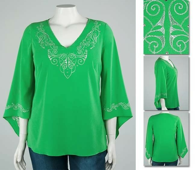 NEW Zaftique STERLING TUNIC Top EMERALD Green 0Z 1Z 5Z   14 16 32   L XL 1X 5X