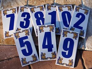 Decorative House Numbers Ceramic Tile