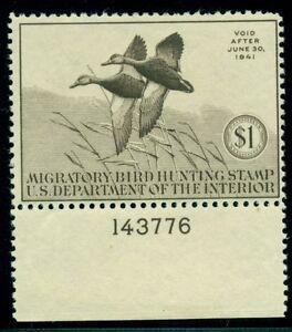 US #RW7 $1.00 Black Mallards scarce Plate No Single LH VF