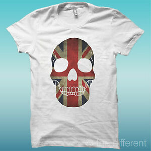T-SHIRT-TESCHIO-SKULL-GREAT-BRITAIN-BIANCO-THE-HAPPINESS-IS-HAVE-MY-T-SHIRT-NEW
