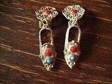 bezaubernde antike Ohrringe Clips Schuhe orientalische Pantoffeln 900er Silber