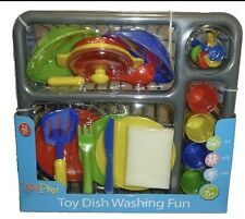 KIDS DISH WASHING PLAY SET CHILDRENS DISHES DRAIINERS TOY PLATE CUTLERY FUN SET