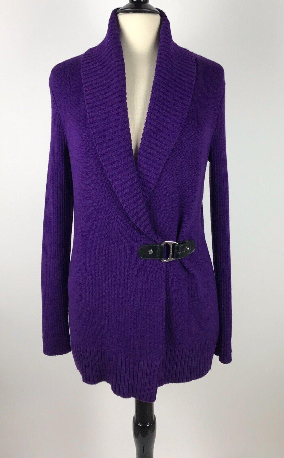 Lauren Ralph Lauren Shawl Collar Cardigan Wrap Belt Sweater Medium Purple