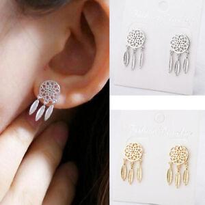 Bohemian-Dream-Catcher-Silver-Gold-Feather-Ear-Stud-Hook-Dangle-Drop-Earrings