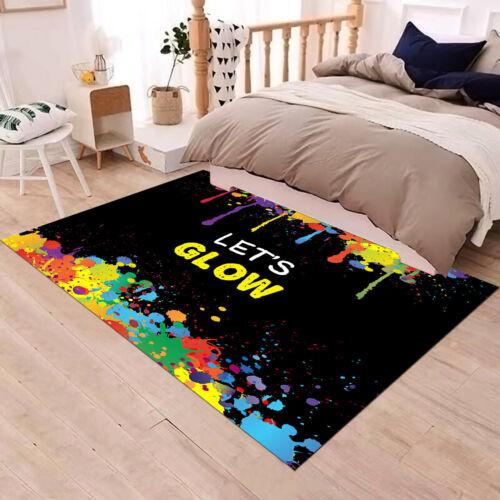 Colorful Paint Let/'s Glow Floor Area Rug Bedroom Carpet Living Child Room Mat