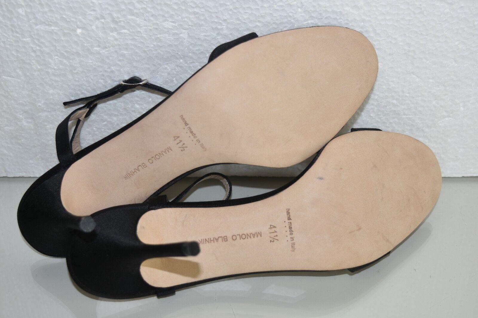 Neuf Manolo Blahnik Sandales Sangle Cheville Noir Orné Talons Talons Talons Chaussures Satin 885b1e