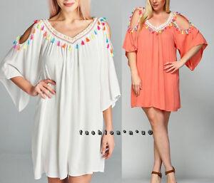 Plus-Size-Boho-Cold-Shoulder-Hippie-Babydoll-Tunic-Dress-White-Coral