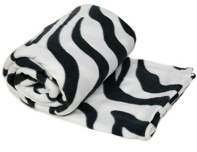 Animal White Tiger Print Warm Large Throw 225cm x 254cm Fleece Sofa Bed Blanket