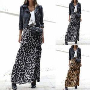 Mode-Femme-Jupes-Loose-Personnalite-Imprime-leopard-Taille-elastique-Plisse-Plus
