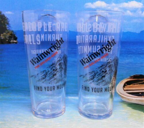 2 X  Wainwright Golden Beer Pint Glasses .