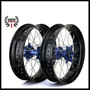 SUPERMOTO-Wheel-YAMAHA-YZF250-YZF450-YZ125-YZ0-BLUE-Hub-Black-Rim-17-034-2009-2013