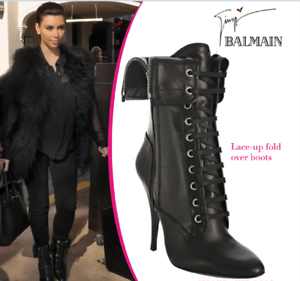 Giuseppe-Zanotti-for-Balmain-LACE-UP-FOLD-OVER-BLACK-ANKLE-BOOTS-EU-35-US-5