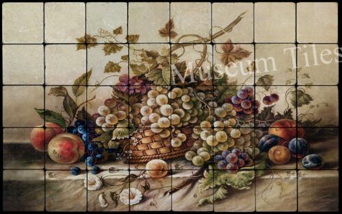 32x20 Pila Corado Fruit Backsplash Mural Tumbled Marble Tiles Kitchen Ideas