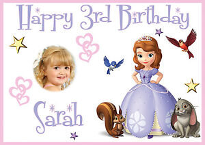 Large Kids Sofia 1st Birthday Poster Banner Personalised Any Name