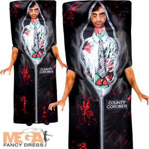 Body in a Bag Mens Fancy Dress Halloween Novelty Gorey Undead Adults Costume New
