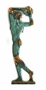 ANCIENT GREEK BRONZE REPLICA DISCUS THROWER GREEN-GOLD OXIDIZATION 391