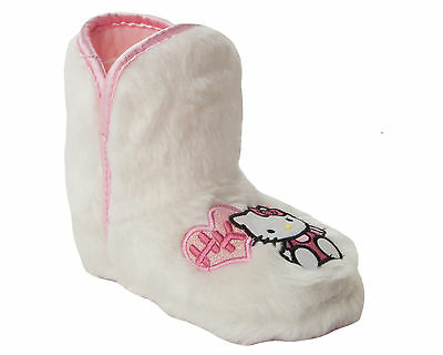 GIRLS OFFICIAL HELLO KITTY WHITE FAUX FUR PULL ON BOOTIE SLIPPERS UK SIZE 8-1