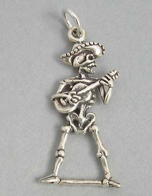 SKELETON With GUITAR ROCKER Sterling Silver Charm Pendant 3D Halloween 4485