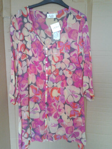 Adini 100/% Viscose georgette printed tunic button through V neck 3//4 sleeves S//M
