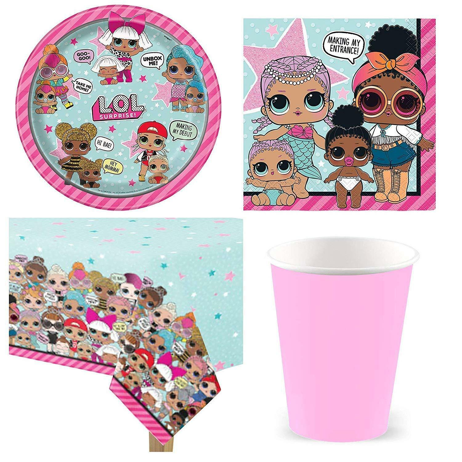 8 Guests LOL Surprise Dolls Birthday Party Plates,Pink Cups Napkin,Table Cover