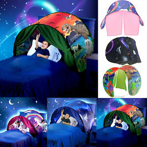 cheap for discount ede13 f4425 Details about Dream Kids Bed Tent Unicorn Space Pop up Play Tent Magic  Playhouse Indoor Play
