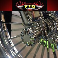 Chrome Billet Front Axle Nut Covers for 1984-2006  Harley Davidson Softail