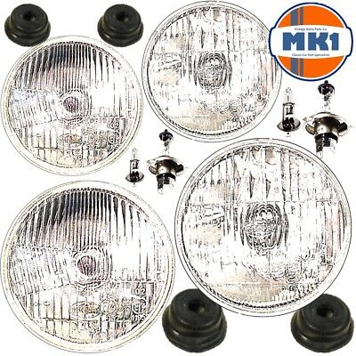 "5.75"" 5 3/4"" CLASSIC CAR INNER & OUTER HEADLAMPS HEADLIGHTS HALOGEN H1 & H4 SET"