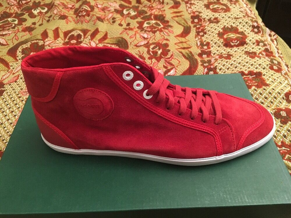 169 Lacoste Lawn High SRM SDE Suede shoes Sneakers RED Sz 7.5