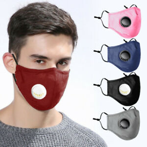 4 Layers Cotton Face Mask With Filter Air Valve Washable Reusable Breathable Uk Ebay