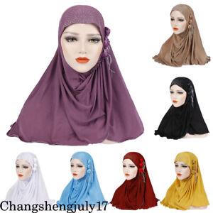 Muslim-Women-039-s-Long-Shawl-Wrap-Hat-Cap-HeadScarf-Hijab-Underscarf-Headwear-Scarf