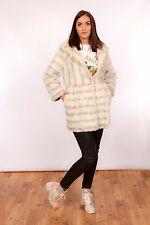 Vintage white & grey faux fur coat - arctic fox style faux fur