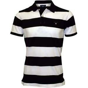 Gant-Bar-Stripe-Pique-Rugger-Men-039-s-Polo-Shirt-Navy-White