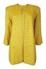* OLEG CASSINI * giallo canarino Vestito di seta (S)