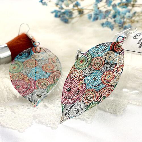 Chic Hollow Leaf Design Boho Traditional Beads Earrings Ear Stud For Women N7