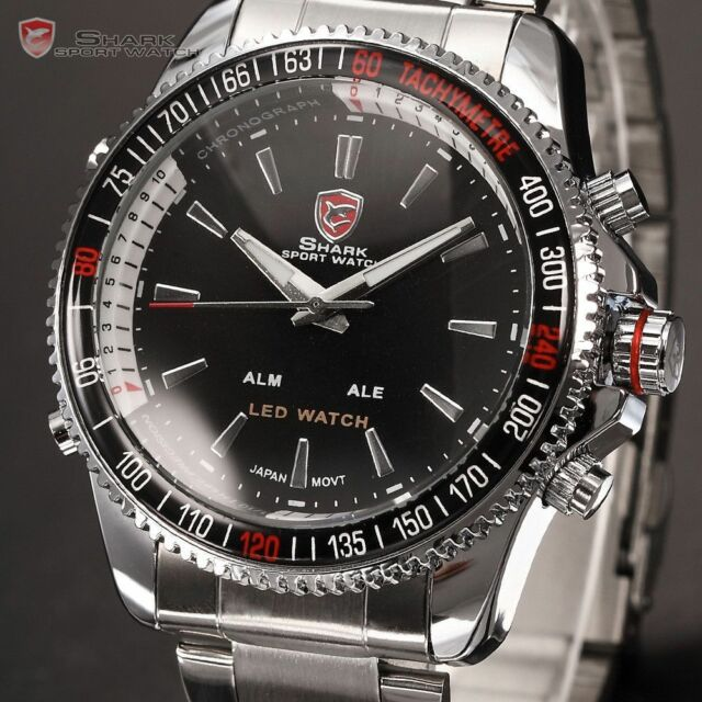 SHARK LED Quartz Digital Date Day Stainless Steel Men Black Fashion Sport Watch