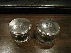 2-VICTORIAN-ART-NOUVEAU-French-G-K-Sterling-Silver-Glass-Vanity-Dresser-Jars
