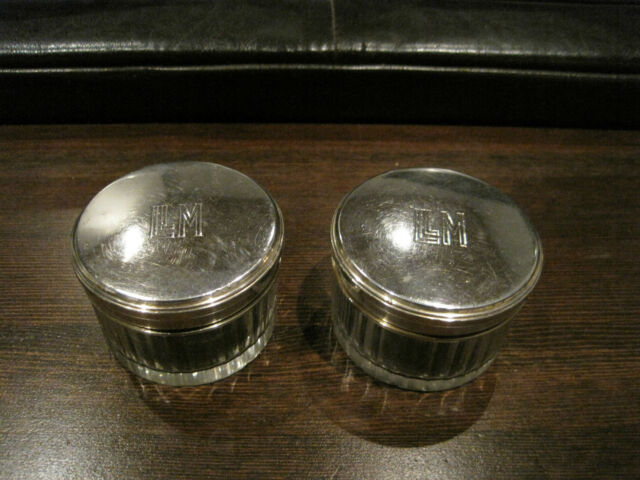 "Victorian French ""G&K"" Sterling Silver Glass Vanity Dresser Jars set of 2"