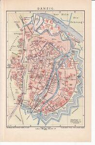 C 1890 Poland Gdansk Germany Danzig City Plan Antique Map Ebay
