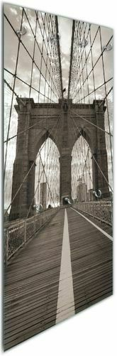 Wallario Glas Garderobe 50 x 125 cm, Motiv  Brooklyn Bridge New York reise usa