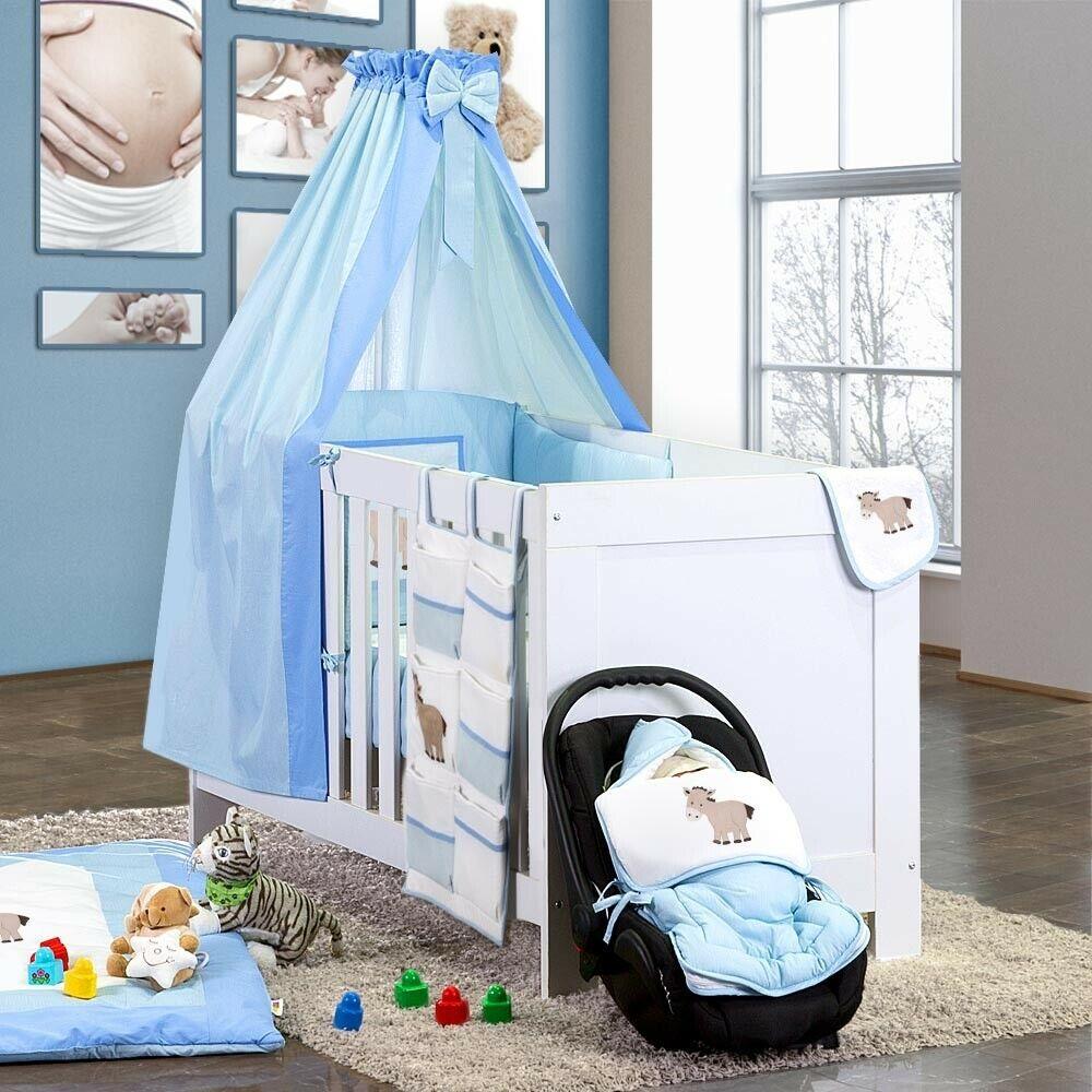 BABY-Lit Set linge de lit Bavoir Ciel tige 7 pces Lansfield paquet Prestij Bleu