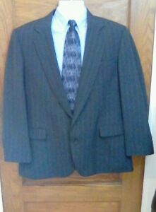 Imperial-by-Haggar-Wool-Blend-Gray-Pinstripe-Blazer-Jacket-Sport-Coat-44R-44-R