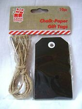 Nuevo 10 Etiquetas de Regalo de Papel de Tiza Negro Pizarra Tablero Tag Personalizado de cadena