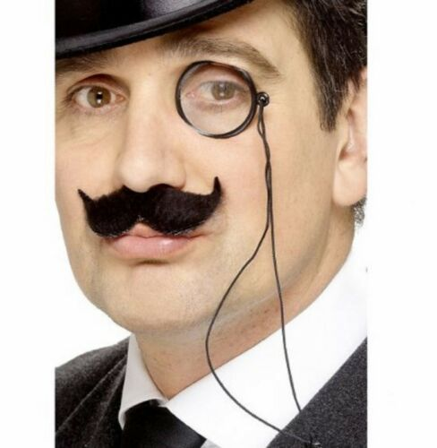 Black 1920s Fake Monocle On Cord Old Gentlemans Fancy Dress Costume Accessory