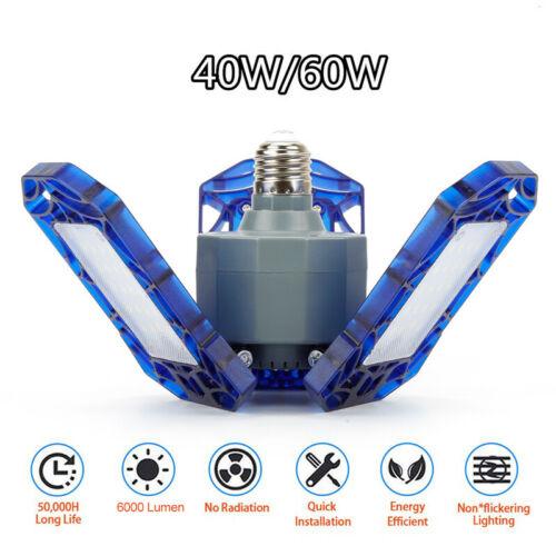 60W Deformable Tri-Fold Lamp LED Adjustable Three Light Garage High Bay Light.