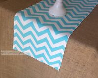 Aqua Blue Turquoise Table Runner Spa Blue Chevron Centerpiece Home Decor Linens