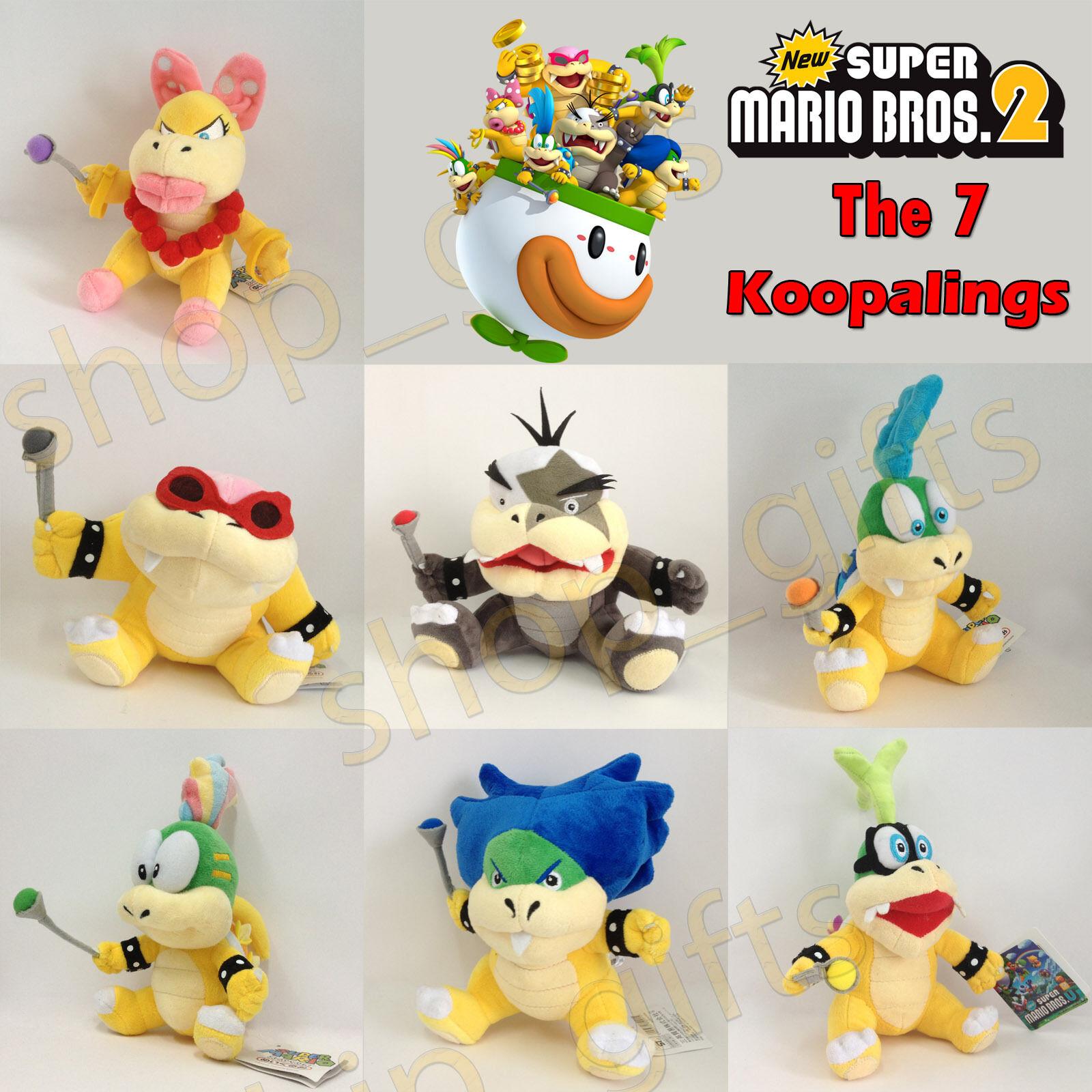 7 Super Mario Bros, 2 Koopalings Plush Ludwig von Larry Lemmy Koopa mjuk leksak